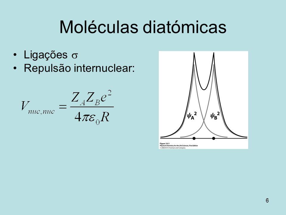 Moléculas diatómicas Ligações s Repulsão internuclear: