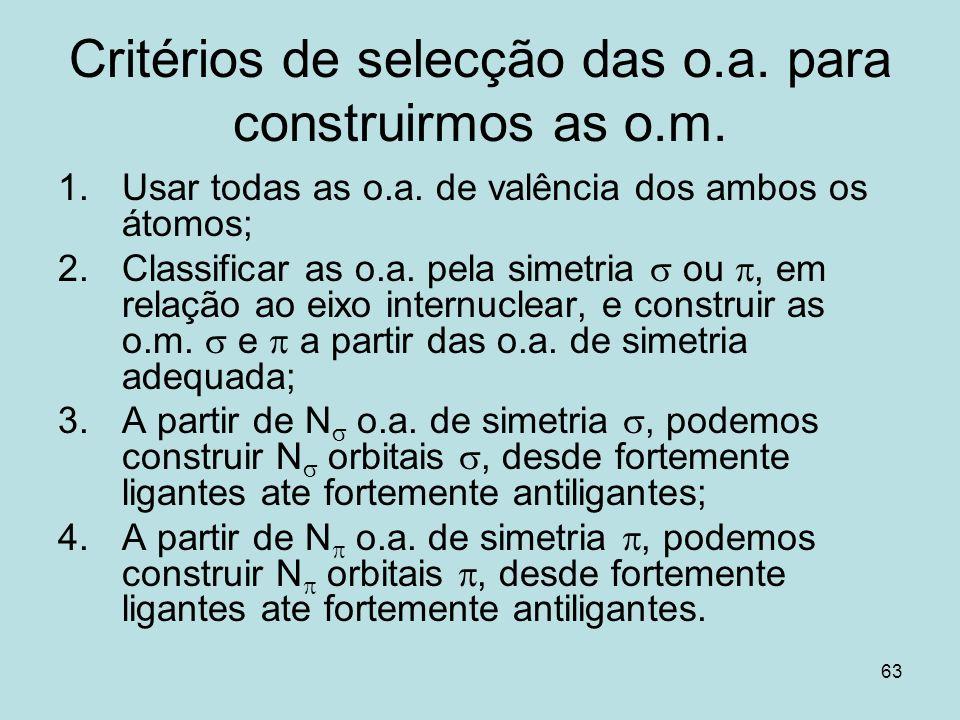 Critérios de selecção das o.a. para construirmos as o.m.