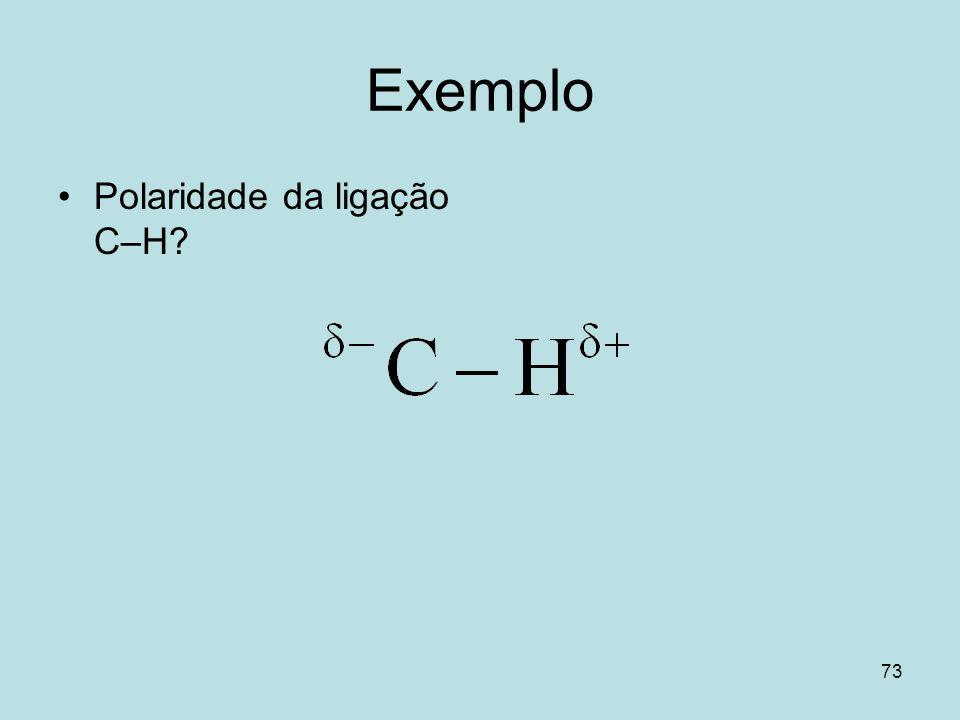 Exemplo Polaridade da ligação C–H