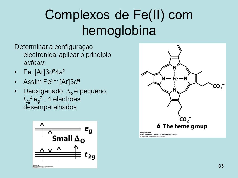 Complexos de Fe(II) com hemoglobina