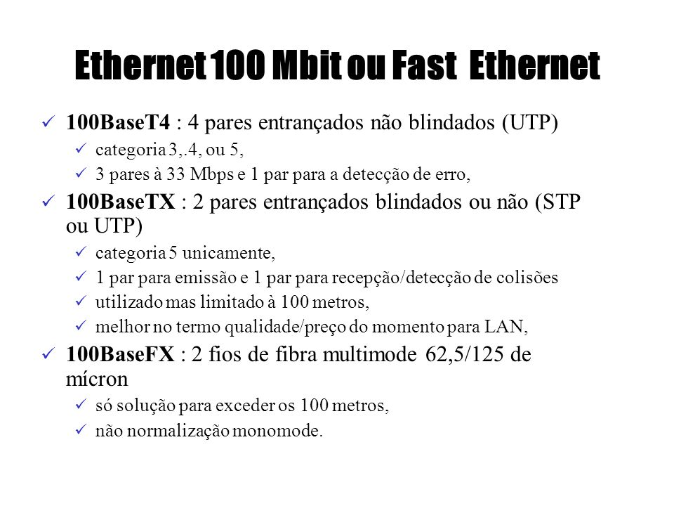 Ethernet 100 Mbit ou Fast Ethernet