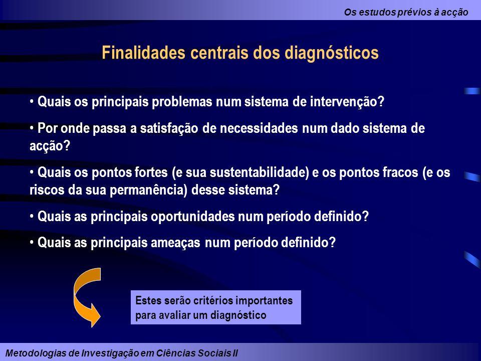 Finalidades centrais dos diagnósticos