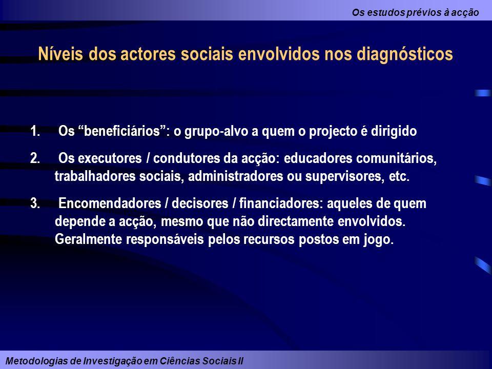 Níveis dos actores sociais envolvidos nos diagnósticos
