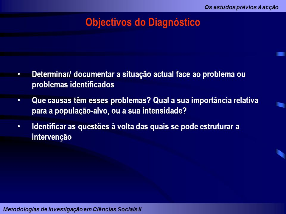 Objectivos do Diagnóstico
