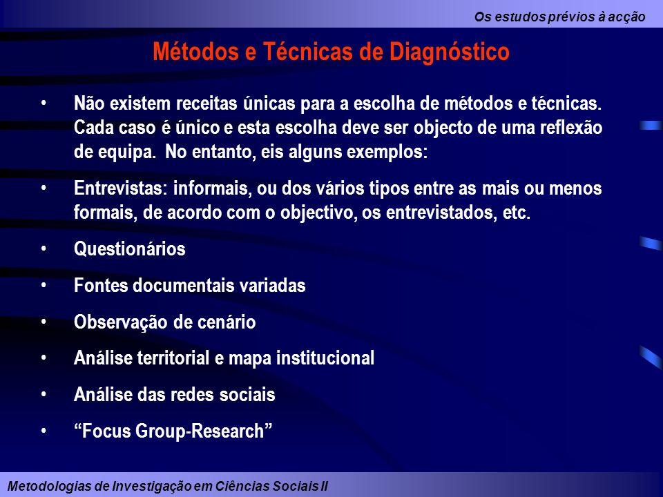 Métodos e Técnicas de Diagnóstico