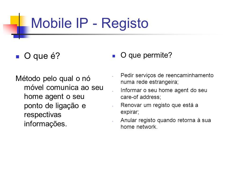Mobile IP - Registo O que é O que permite