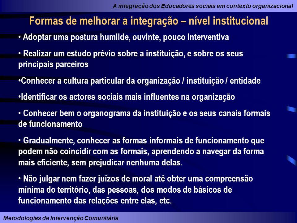 Formas de melhorar a integração – nível institucional