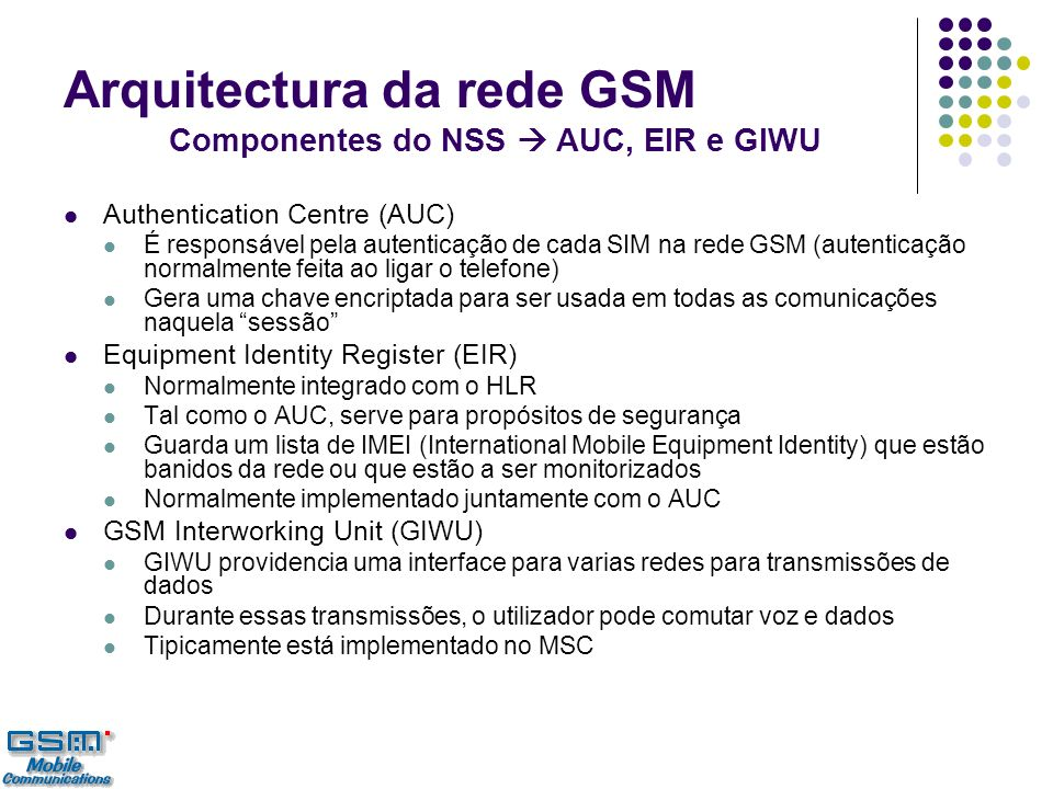 Arquitectura da rede GSM Componentes do NSS  AUC, EIR e GIWU