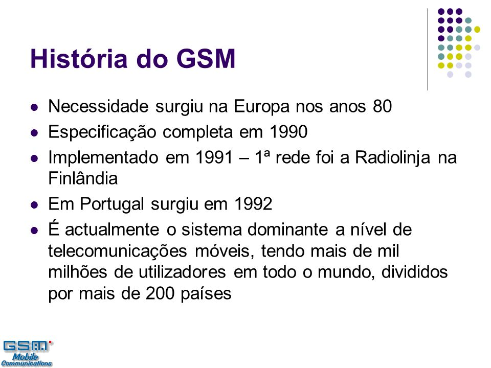 História do GSM Necessidade surgiu na Europa nos anos 80