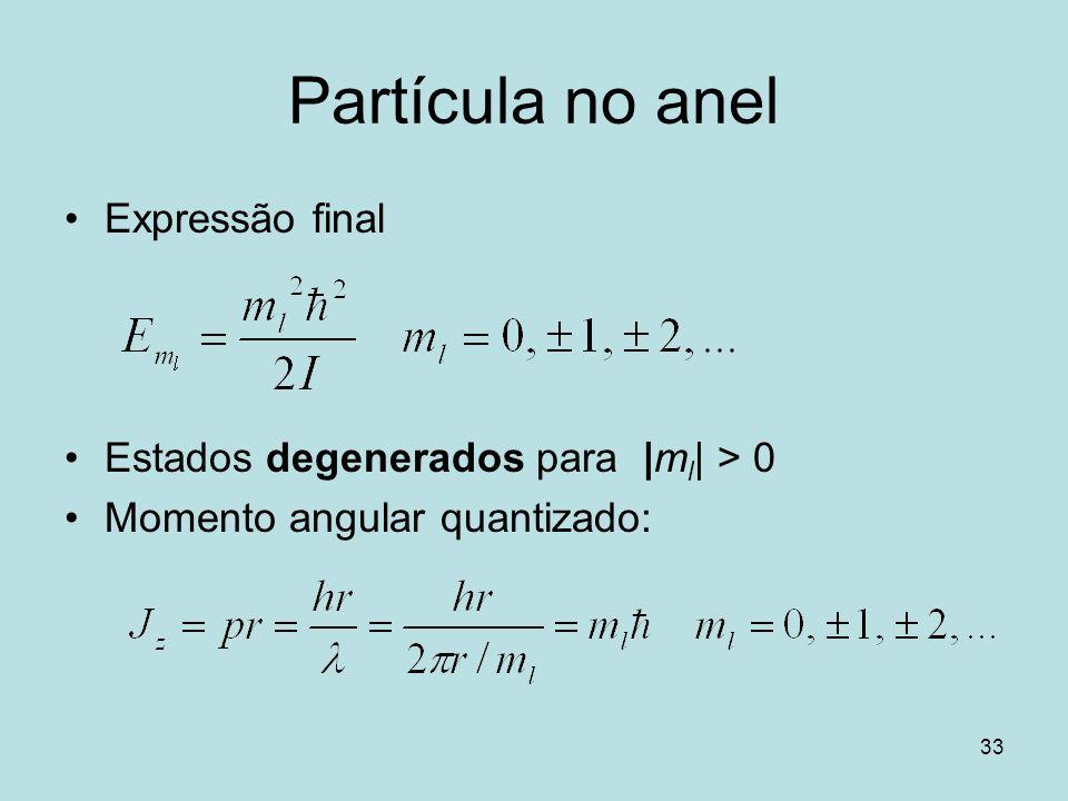 Partícula no anel Expressão final Estados degenerados para |ml| > 0