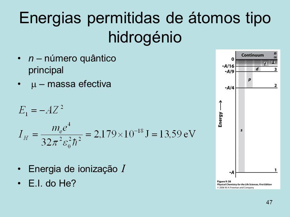Energias permitidas de átomos tipo hidrogénio