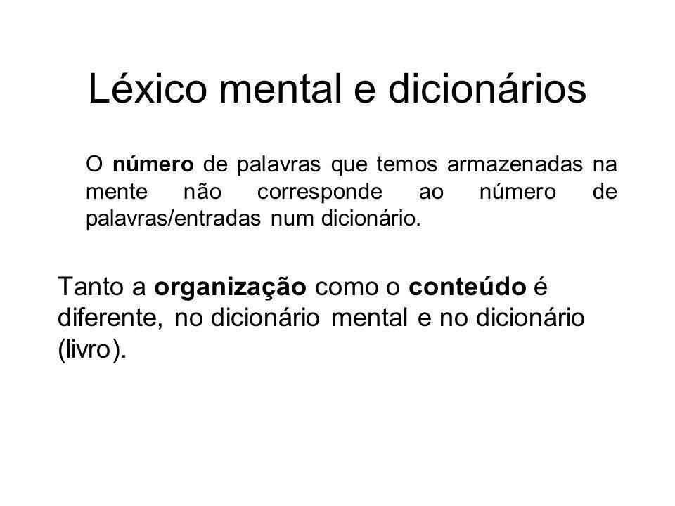 Léxico mental e dicionários