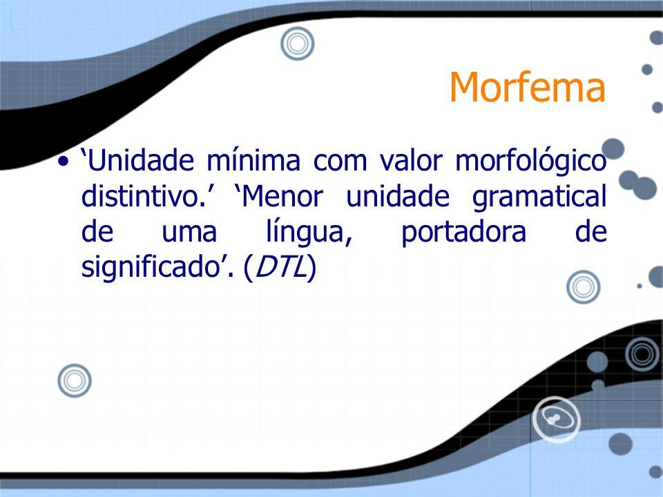 Morfema 'Unidade mínima com valor morfológico distintivo.' 'Menor unidade gramatical de uma língua, portadora de significado'.
