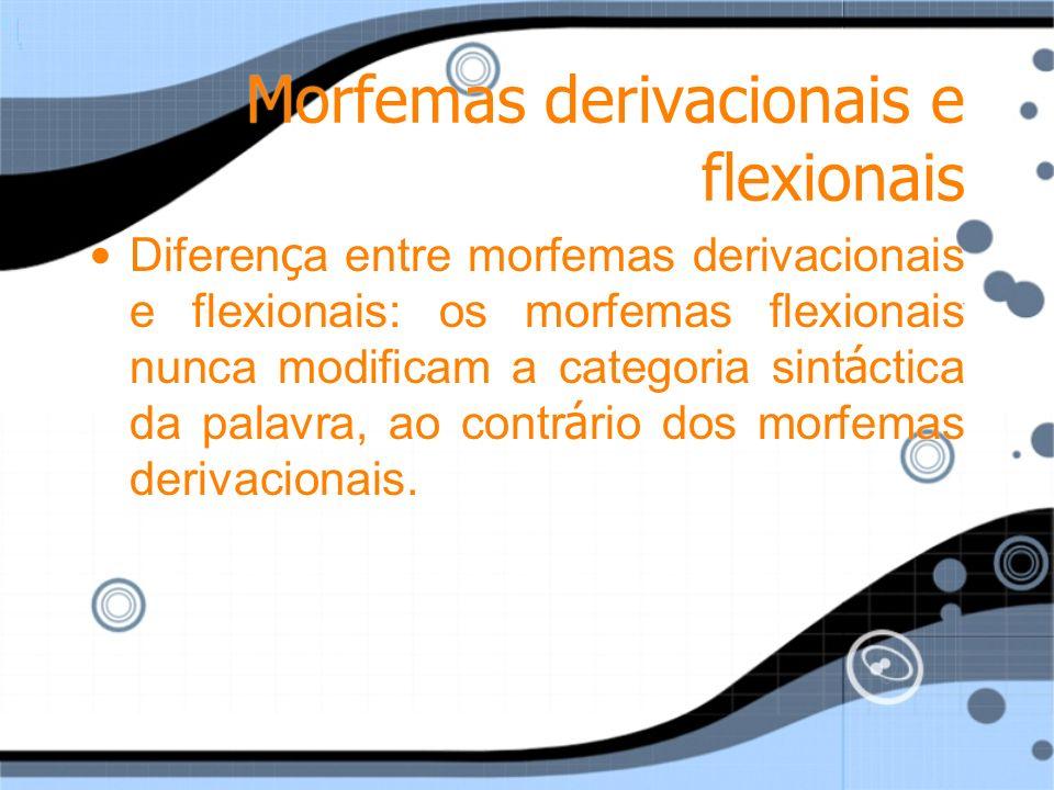 Morfemas derivacionais e flexionais