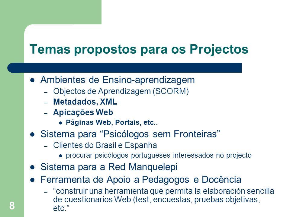 Temas propostos para os Projectos