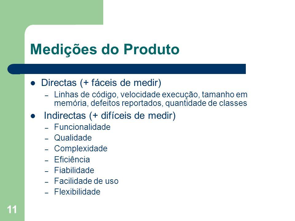 Medições do Produto Directas (+ fáceis de medir)