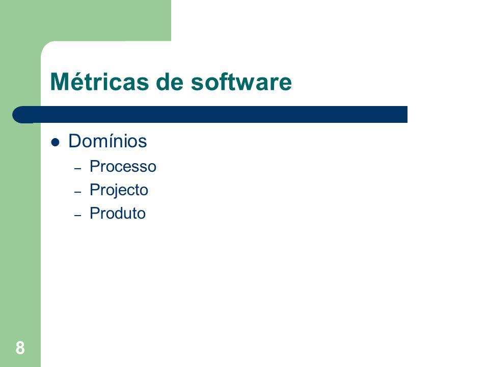 Métricas de software Domínios Processo Projecto Produto
