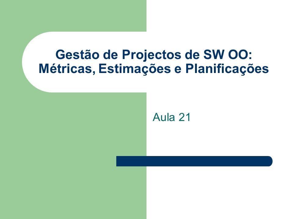 Gestão de Projectos de SW OO: Métricas, Estimações e Planificações