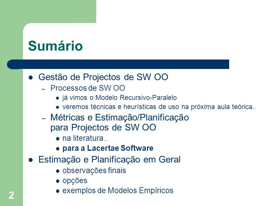 Sumário Gestão de Projectos de SW OO