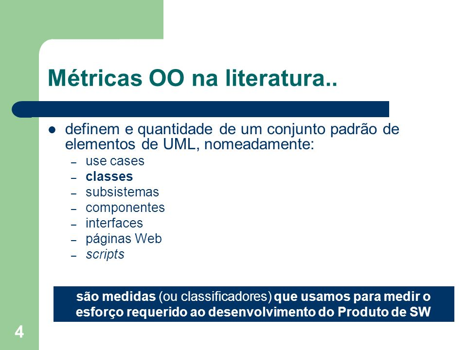 Métricas OO na literatura..