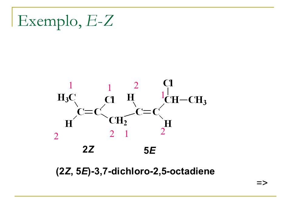 Exemplo, E-Z 1 2 2 1 1 2 1 2 2Z 5E (2Z, 5E)-3,7-dichloro-2,5-octadiene