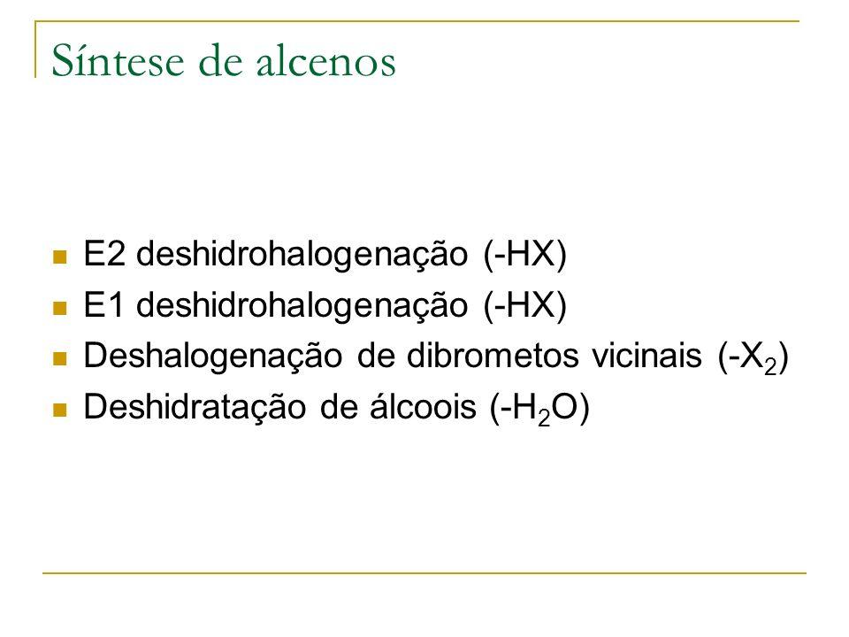Síntese de alcenos E2 deshidrohalogenação (-HX)