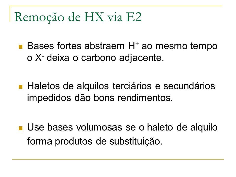 Remoção de HX via E2 Bases fortes abstraem H+ ao mesmo tempo o X- deixa o carbono adjacente.