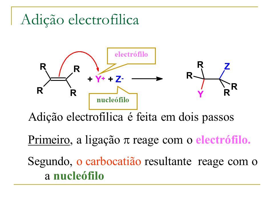 Adição electrofilica Adição electrofilica é feita em dois passos