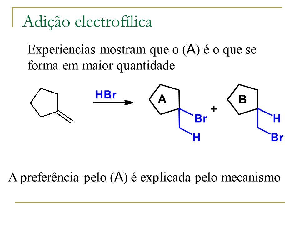Adição electrofílica Experiencias mostram que o (A) é o que se forma em maior quantidade. H. B. r.