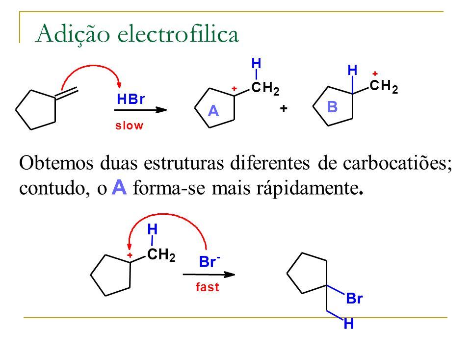 Adição electrofilica Obtemos duas estruturas diferentes de carbocatiões; contudo, o A forma-se mais rápidamente.