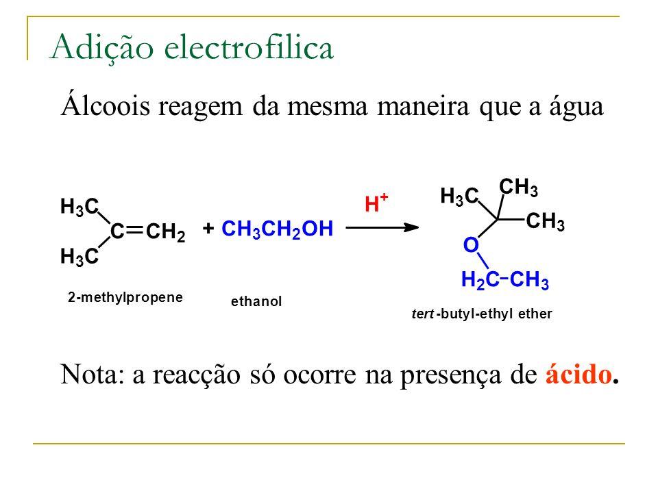 Adição electrofilica Álcoois reagem da mesma maneira que a água