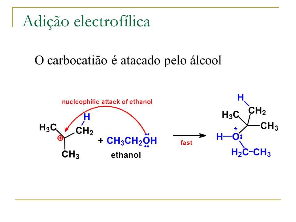 Adição electrofílica O carbocatião é atacado pelo álcool H C H H C H H