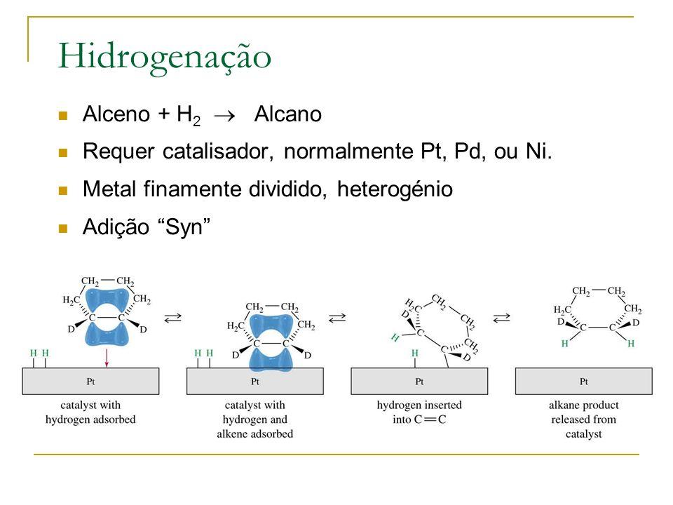 Hidrogenação Alceno + H2  Alcano