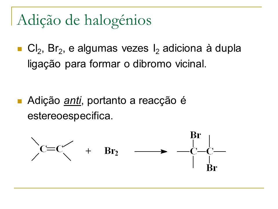 Adição de halogénios Cl2, Br2, e algumas vezes I2 adiciona à dupla ligação para formar o dibromo vicinal.