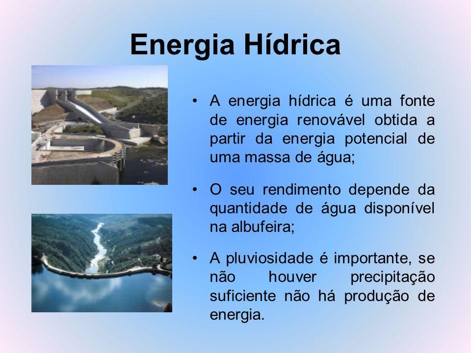 Energia Hídrica A energia hídrica é uma fonte de energia renovável obtida a partir da energia potencial de uma massa de água;