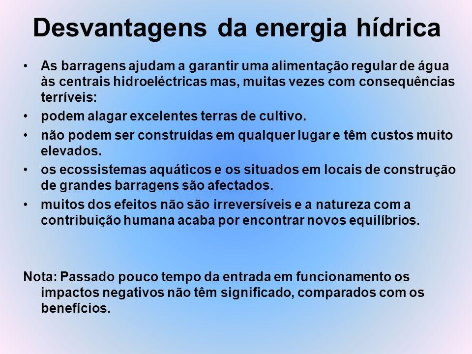 Desvantagens da energia hídrica