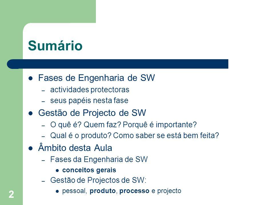 Sumário Fases de Engenharia de SW Gestão de Projecto de SW