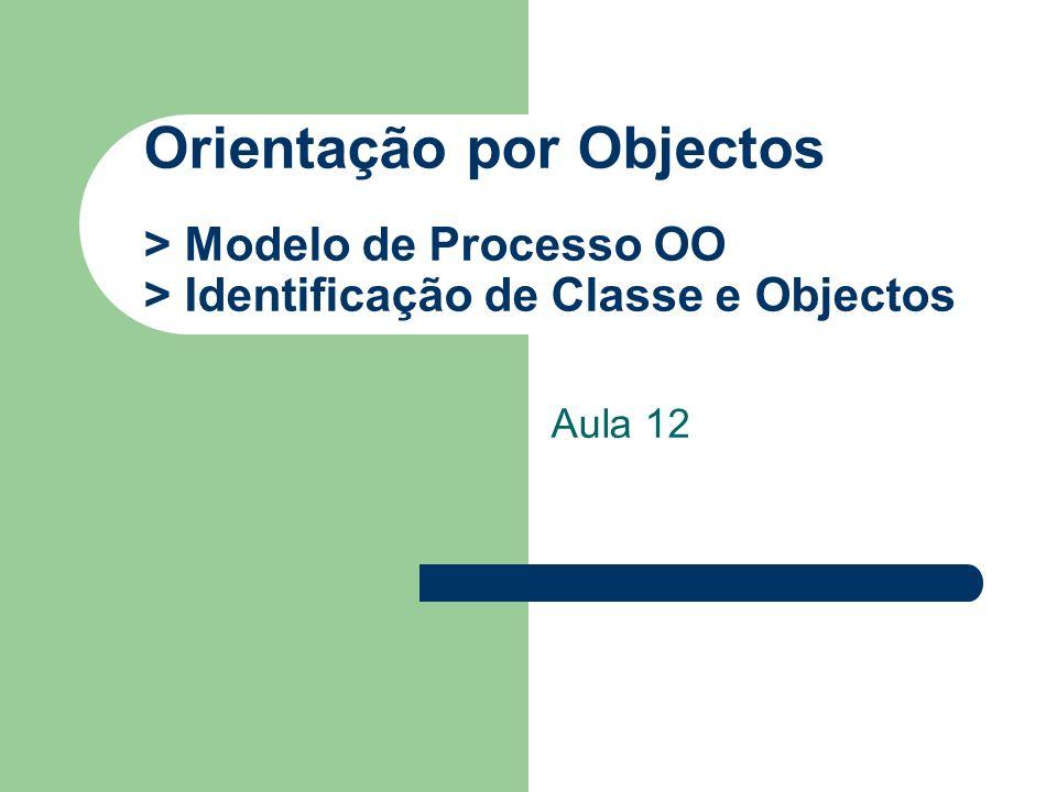 Orientação por Objectos > Modelo de Processo OO > Identificação de Classe e Objectos