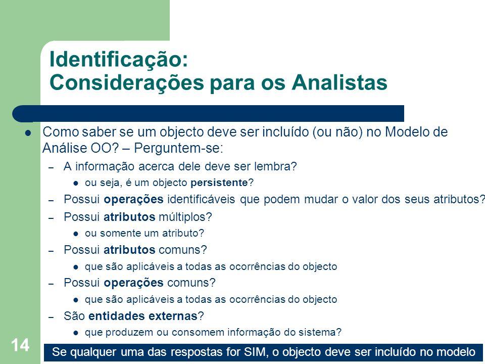 Identificação: Considerações para os Analistas