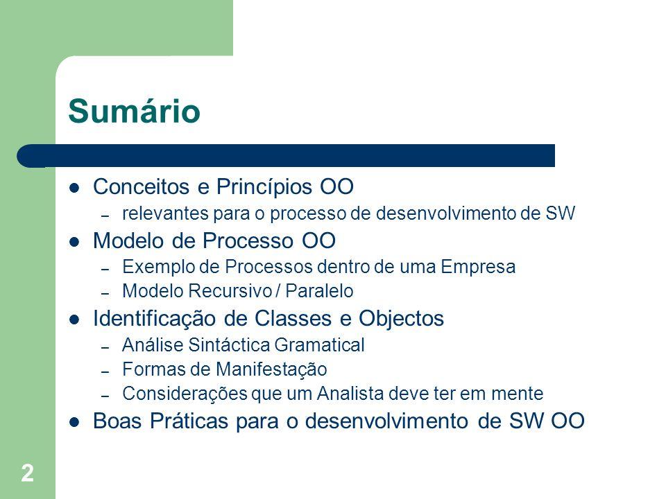 Sumário Conceitos e Princípios OO Modelo de Processo OO