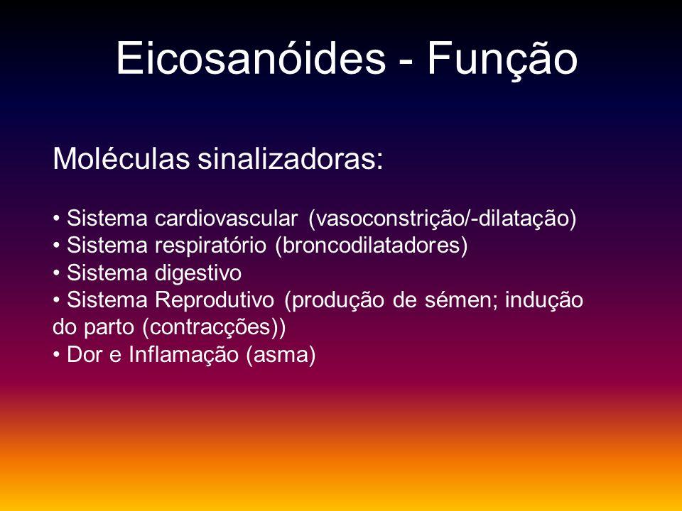 Eicosanóides - Função Moléculas sinalizadoras: