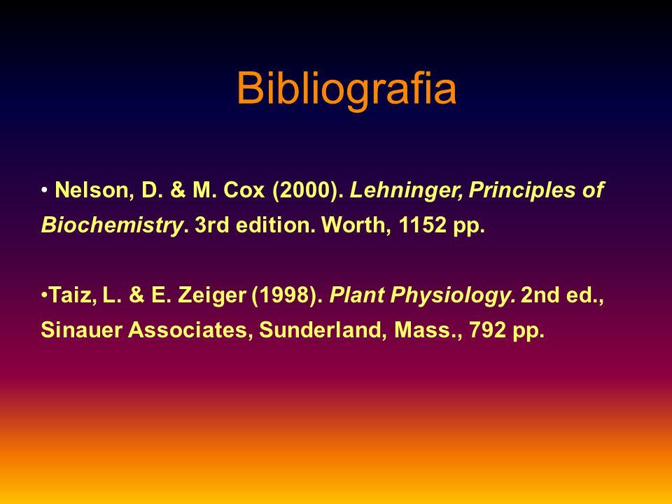 Bibliografia Nelson, D. & M. Cox (2000). Lehninger, Principles of Biochemistry. 3rd edition. Worth, 1152 pp.