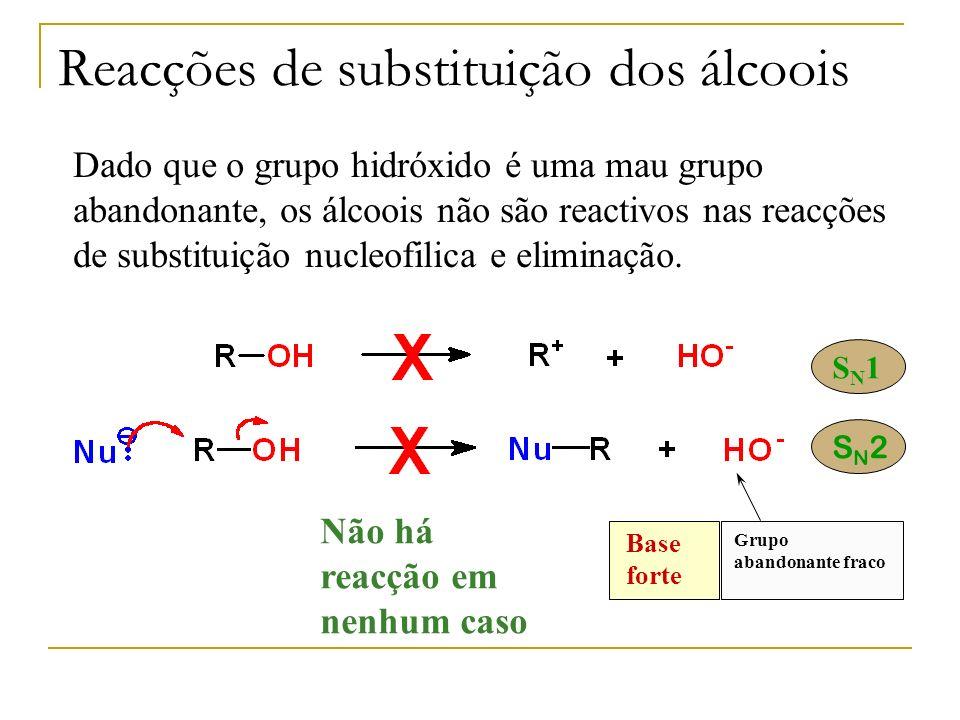 Reacções de substituição dos álcoois