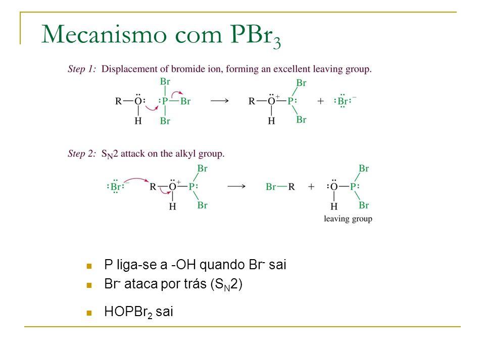 Mecanismo com PBr3 P liga-se a -OH quando Br- sai