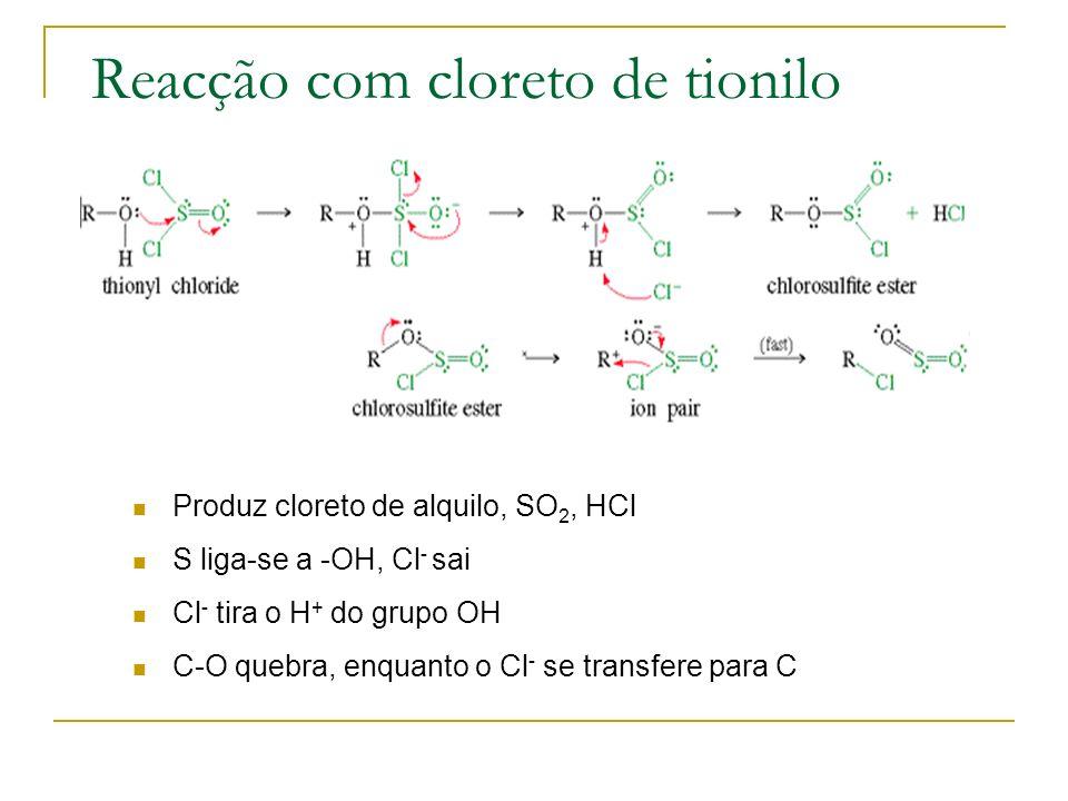 Reacção com cloreto de tionilo
