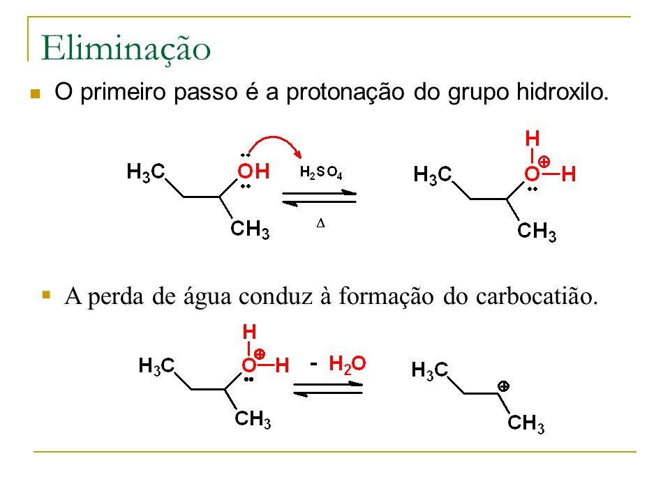 Eliminação A perda de água conduz à formação do carbocatião.