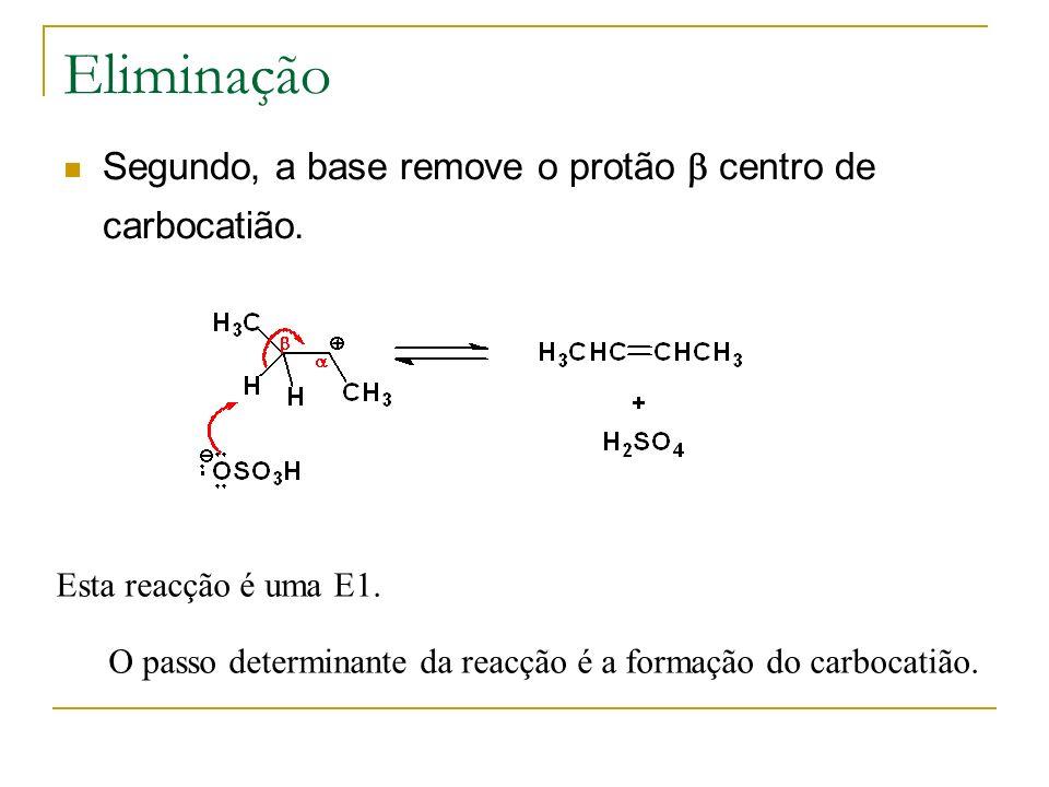 Eliminação Segundo, a base remove o protão b centro de carbocatião.
