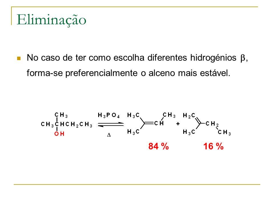Eliminação No caso de ter como escolha diferentes hidrogénios b, forma-se preferencialmente o alceno mais estável.
