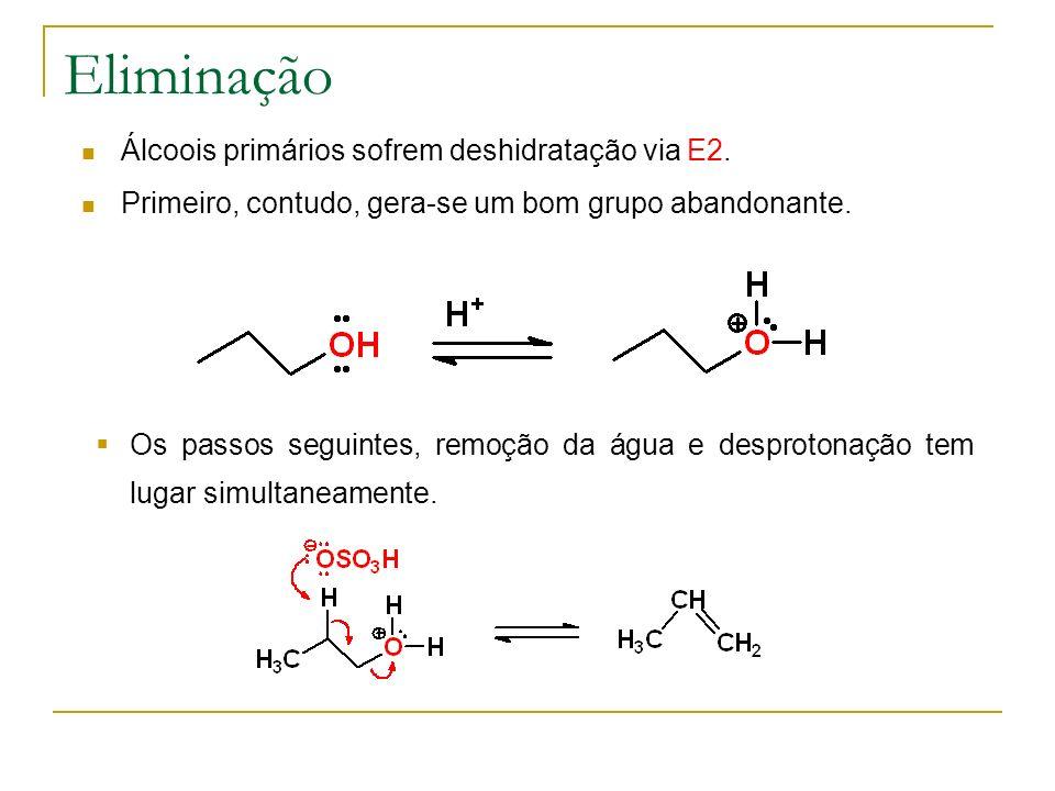 Eliminação Álcoois primários sofrem deshidratação via E2.