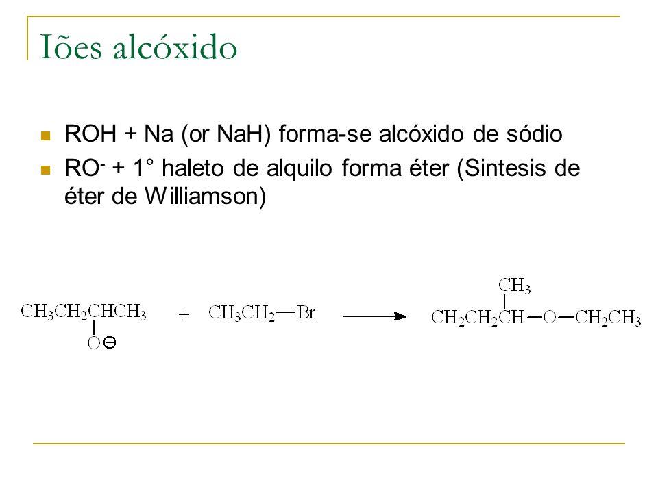 Iões alcóxido ROH + Na (or NaH) forma-se alcóxido de sódio